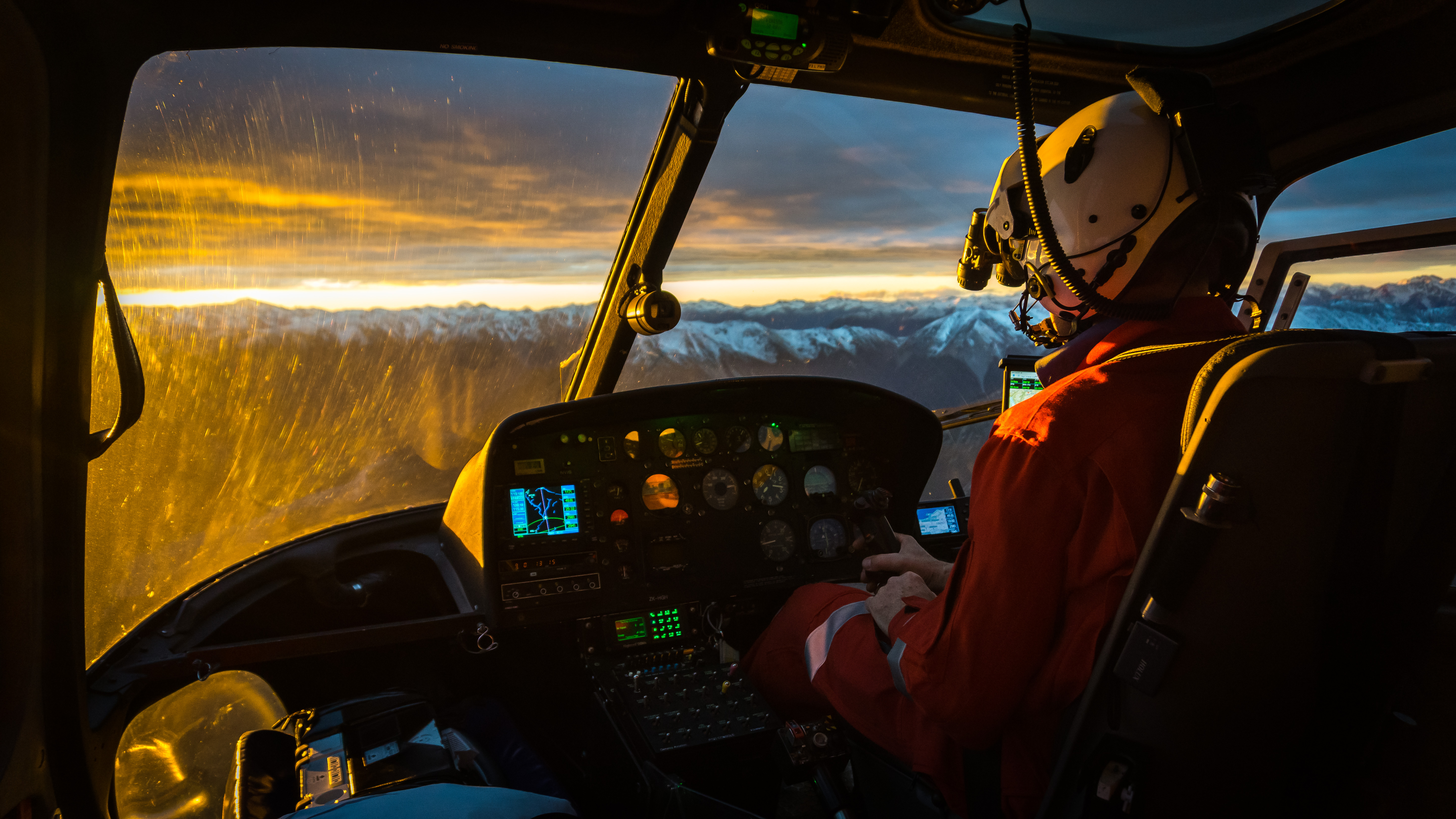 Martin Shaw piloting HGH from Christchurch to Greymouth. 30 April 2015
