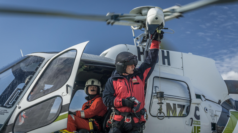 Rob Stokes (winch operator) & Emma Carrod (Police SAR).  Greymouth, 26 Mar 2015