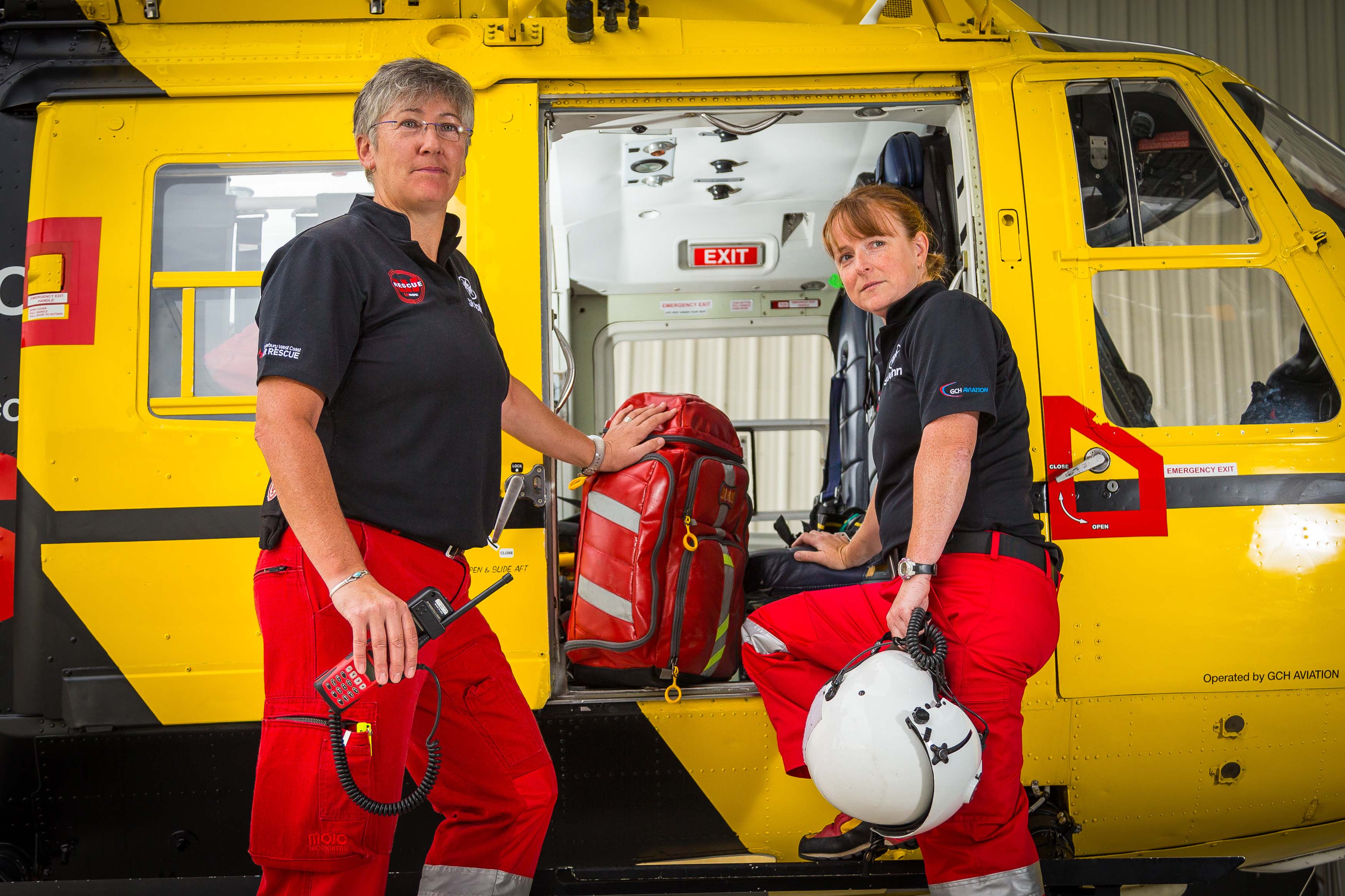 Kath & Juliet loading the helicopter