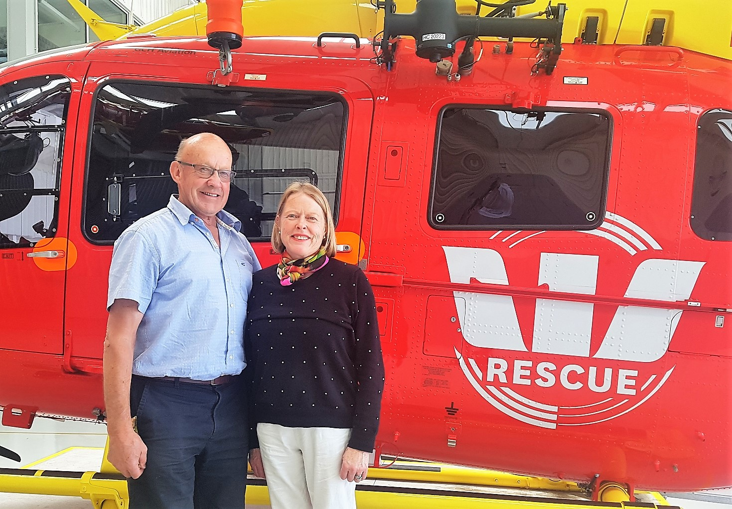 Winners of scenic helicopter ride from AsureQuality Graham and Vivienne Campion